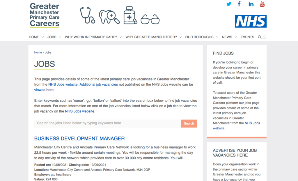 Greater Manchester Primary Care Careers jobs page