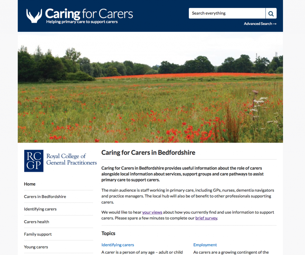 Caring for Carers Hub Bedfordshire