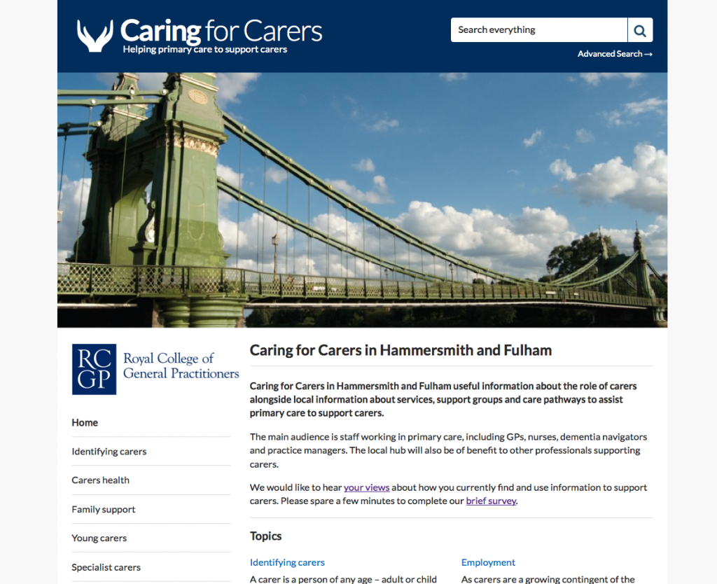 Caring for Carers Hub Hammersmith