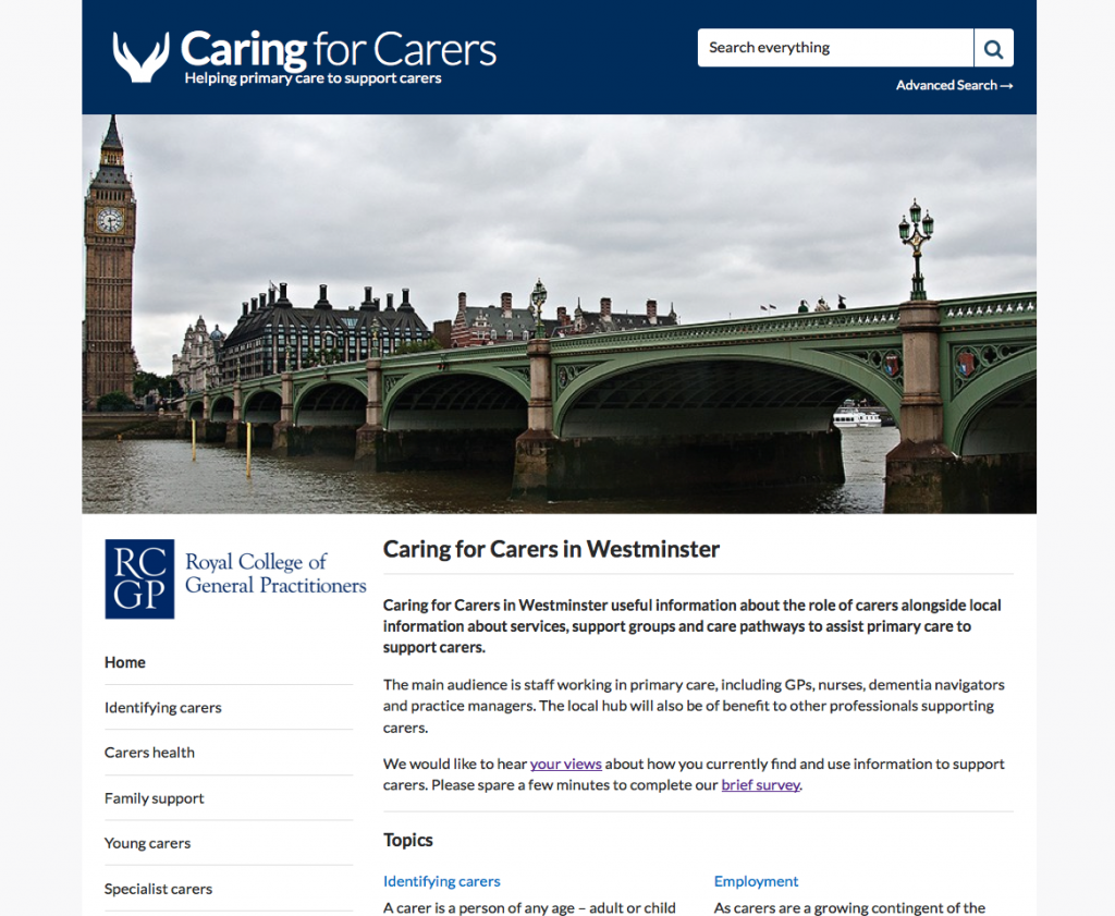 Caring for Carers Hub Westminster