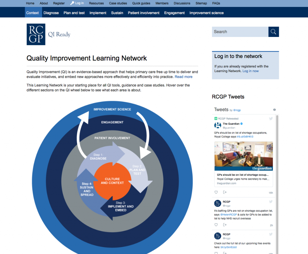 The homepage of the QIReady learning network with the interactive QI wheel