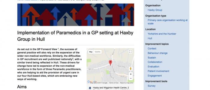 A case study on the implementation of paramedics in a GP setting at Haxby Group in Hull
