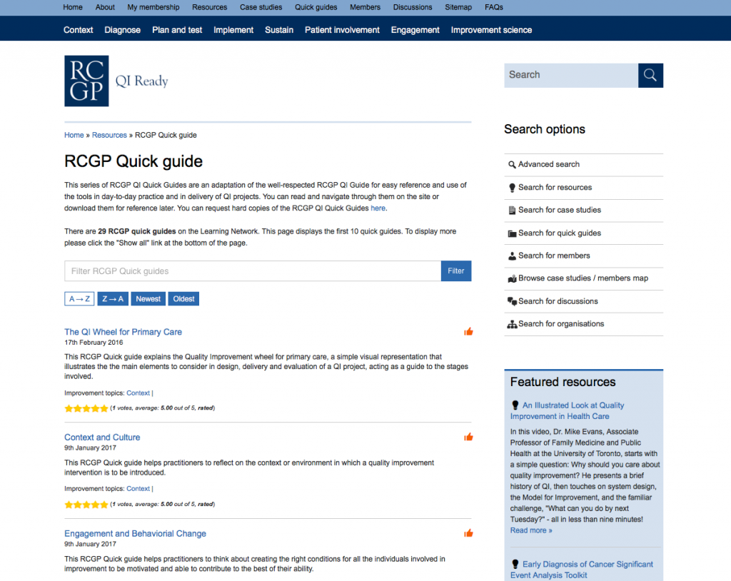 This archive page shows the quality improvement quick guides on the QIReady learning network