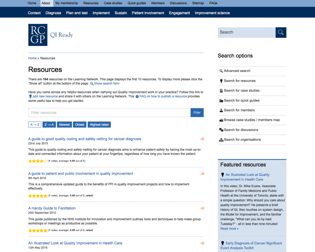 This archive page shows the resources on the QIReady learning network
