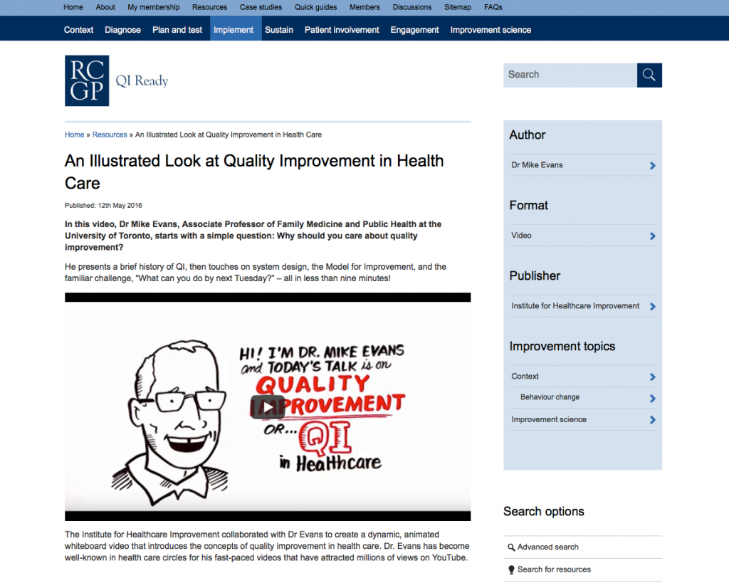 In this video Dr Mike Evans introduces the concepts of quality improvement in health care